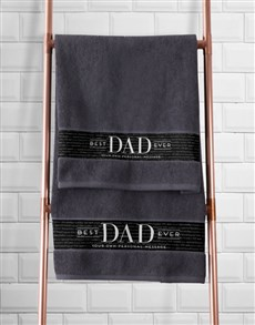 gifts: Personalised Best Dad Grey Towel Set!