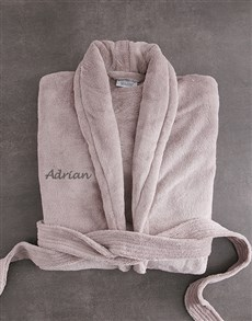 gifts: Personalised Taupe Fleece Gown!