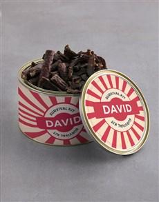 gifts: Personalised Survival Kit Biltong Tin With Chocs!
