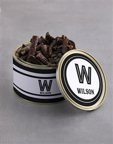 gifts: Personalised Monogram Biltong Tin With Chocs!