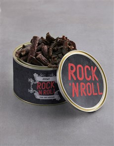 gifts: Personalised Rock And Roll Biltong Tin With Chocs!