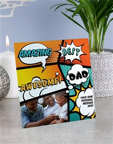 gifts: Personalised Awesome Dad Glass Tile !