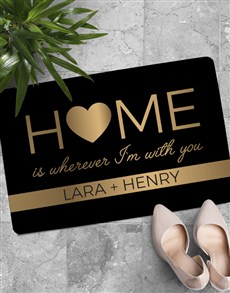 gifts: Personalised Home Is With You Doormat !