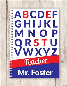 gifts: Personalised Alphabet Best Teacher Notebook!