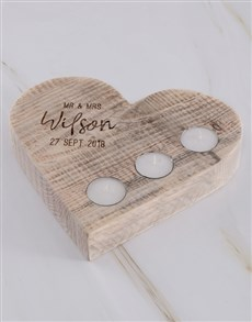 gifts: Personalised Mr Mrs Heart Candle Holder !