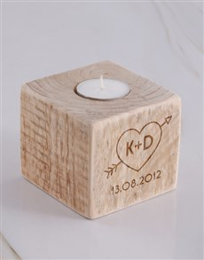 gifts: Personalised Couples Heart Candle Holder!