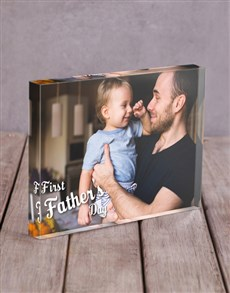 gifts: Personalised First Fathers Day Acrylic Block !