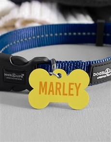 gifts: Personalised Yellow Bone ID Tag and Collar!