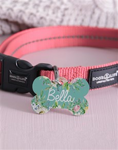 gifts: Personalised Floral Bone ID Tag and Collar!