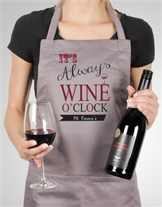 gifts: Personalised Wine O Clock Apron!