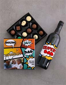 gifts: Personalised Best Dad Choc and Wine Combo!