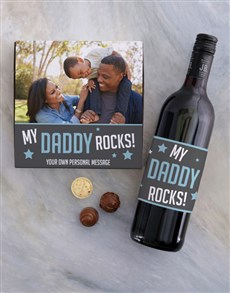 gifts: Personalised Dad Rocks Choc and Wine Combo!