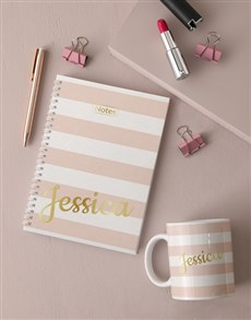 gifts: Personalised Striped Notebook!