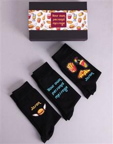 gifts: Personalised Three Pair Junk Food Socks Box!
