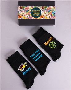 gifts: Personalised Three Pair Summer Socks Box!