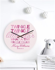 gifts: Personalised Pink Twinkle Clock!