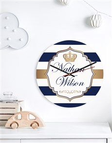 gifts: Personalised Blue Crown Clock!