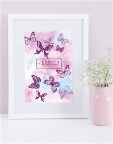 gifts: Personalised Framed Watercolour Butterfly Print!