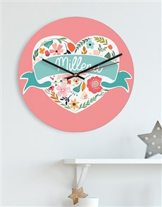 gifts: Personalised Floral Heart MDF Clock!