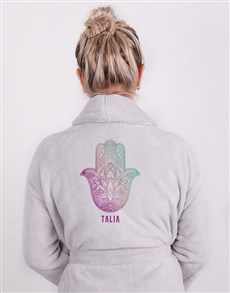 gifts: Personalised Hamsa Grey Fleece Gown!