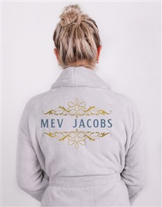 gifts: Personalised Mev Grey Fleece Gown!