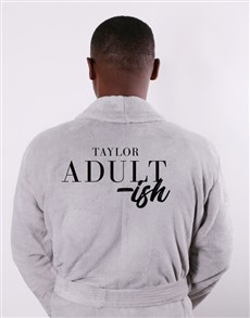 gifts: Personalised Adultish Grey Fleece Gown!
