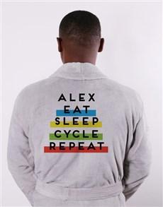 gifts: Personalised Eat Sleep Grey Fleece Gown!