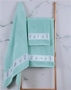 gifts: Personalised Green Leaves Duck Egg Towel Set!
