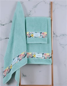 gifts: Personalised Bright Floral Duck Egg Towel Set!