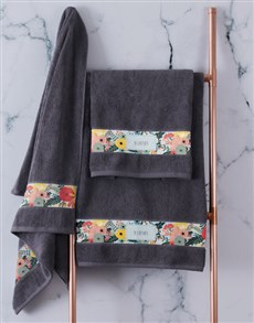 gifts: Personalised Bright Floral Charcoal Towel Set!
