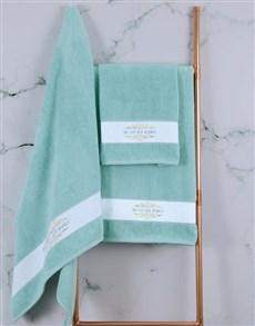 gifts: Personalised Mnr & Mev Duck Egg Towel Set!
