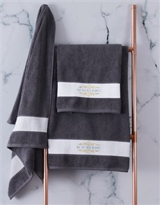gifts: Personalised Mnr & Mev Charcoal Towel Set!