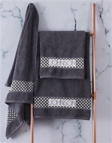 gifts: Personalised Ethnic Glam Charcoal Towel Set!