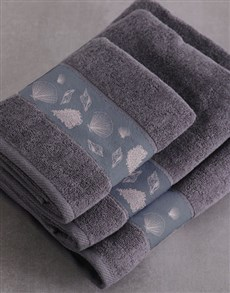 gifts: Personalised Glam Coastal Charcoal Towel Set!