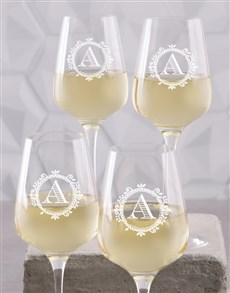 gifts: Personalised Monogram Wine Glass Set!