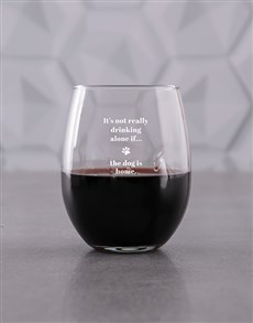 gifts: Personalised Drinking Alone Stemless Wine Glass!