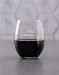 gifts: Personalised Golden Missus Stemless Wine Glass!