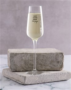 gifts: Personalised Save Water Champagne Glass Single!