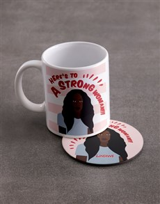 gifts: Personalised Strong Woman Mug And Coaster Set!