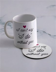 gifts: Personalised Say I Do Mug And Coaster Set!