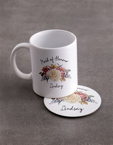 gifts: Personalised Maid Of Honour Mug And Coaster Set!