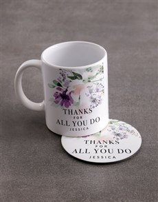 gifts: Personalised Thank You Mug And Coaster Set!