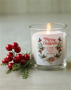 gifts: Personalised Bird Merry Christmas Candle!