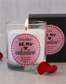 gifts: Personalised Be My Valentine Candle!