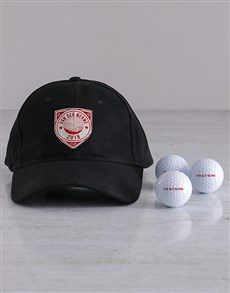 gifts: Personalised Shield Golf Balls and Cap!