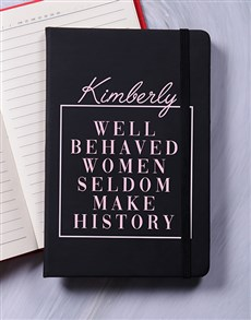gifts: Personalised Women Make History Notebook!