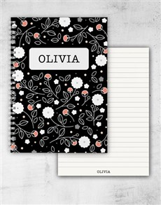 gifts: Personalised Colourful Floral Ring Bound Notebook!