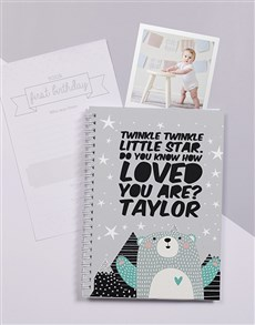 gifts: Personalised Twinkle Bear Babys First Year Journal!