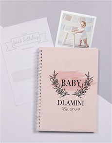 gifts: Personalised Pink Floral Wreath Baby Journal!
