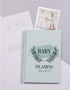 gifts: Personalised Blue Floral Wreath Baby Journal!